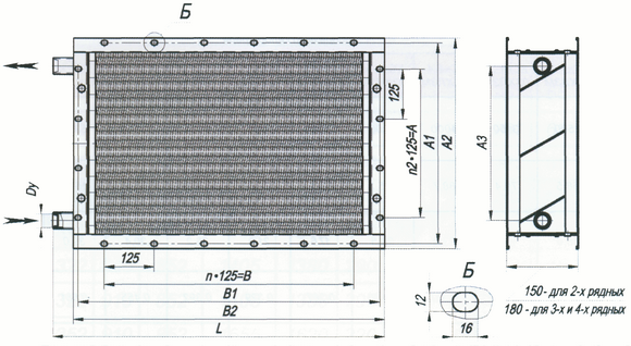 Габаритные и присоединительные размеры калориферов типа КСк