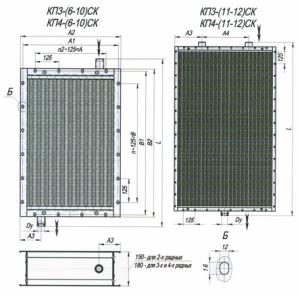 Габаритные и присоединительные размеры воздухонагревателей КП.