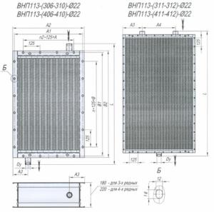 Габаритные и присоединительные размеры воздухонагревателей типа ВНП