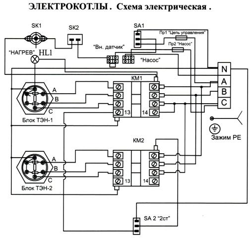 Электрическая схема подключения котлов ЕВРОТОП